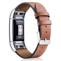 Okosóra szíj - BARNA - valódi bőr - Fitbit Charge 2