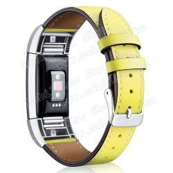 Okosóra szíj - SÁRGA - valódi bőr - Fitbit Charge 2
