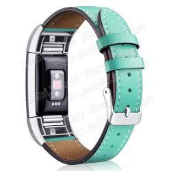 Okosóra szíj - ZÖLD - valódi bőr - Fitbit Charge 2