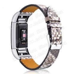 Okosóra szíj - SZÜRKE - valódi bőr - kígyóbőr mintás - Fitbit Charge 2