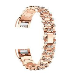 Fém okosóra szíj - strassz kővel díszített - ROSE GOLD / FEHÉR - Fitbit Charge 2
