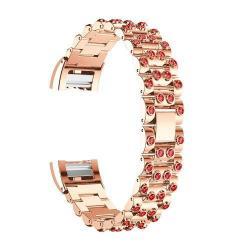 Fém okosóra szíj - strassz kővel díszített - ROSE GOLD / PIROS - Fitbit Charge 2