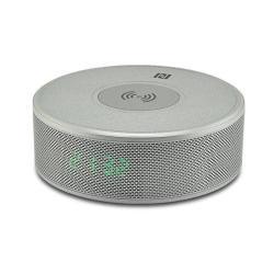 YOGEE JY-29C hordozható bluetooth hangszóró - EZÜST - v.3.0, NFC, ébresztő óra, microSD kártyaolvasó, 3,5 mm-es aux, mikrofon, Qi Wireless vezetéknélküli asztali töltő állomás