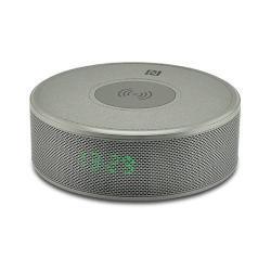 YOGEE JY-29C hordozható bluetooth hangszóró - SZÜRKE - v.3.0, NFC, ébresztő óra, microSD kártyaolvasó, 3,5 mm-es aux, mikrofon, Qi Wireless vezetéknélküli asztali töltő állomás