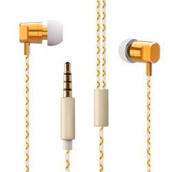 WP02 Mega Bass HiFi stereo headset - ARANY - 3,5 mm Jack, felvevő és hangerő szabályzó gomb, könnyűfém ház, 120cm vezeték - GYÁRI