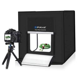 60cm-es összecsukható 60W-os fotó sátorkészlet készlet 3 színû háttérrel, 2db lámpával - FEKETE