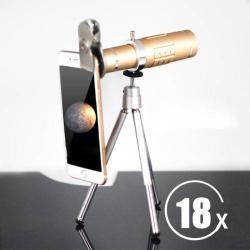 UNIVERZÁLIS kameralencse 18X HD optikai zoommal, mini tripod állvánnyal, teleszkóp - ARANY