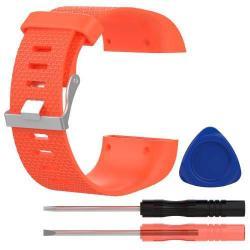 TPE okosóra szíj - FITBIT SURGE - PIROS - L méret, 10cm + 13cm, a cseréhez szükséges eszközökkel!