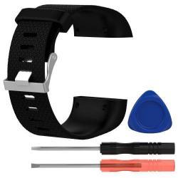TPE okosóra szíj - FITBIT SURGE - FEKETE - L méret, 10cm + 13cm, a cseréhez szükséges eszközökkel!