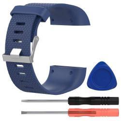 TPE okosóra szíj - FITBIT SURGE - SÖTÉTKÉK - L méret, 10cm + 13cm, a cseréhez szükséges eszközökkel!