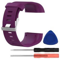 TPE okosóra szíj - FITBIT SURGE - SÖTÉTLILA - L méret, 10cm + 13cm, a cseréhez szükséges eszközökkel!