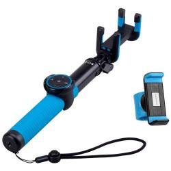 MOMAX Selfie Hero DUO Teleszkópos selfie bot - BLUETOOTH KIOLDÓVAL, forgatható, 2 készülék rögzítése, max 70cm hosszú nyél, 57mm-80mm-ig állítható telefon tartó bölcső - KÉK