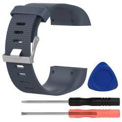 TPE okosóra szíj - FITBIT SURGE - SZÜRKE - S méret, 8,5cm + 10,5cm, a cseréhez szükséges eszközökkel!