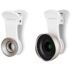 MOMAX UNIVERZÁLIS csipeszes kameralencse - 2 részes, 1db 0,6X széles látószögű lencse, 1db 10X makró lencse - ARANY
