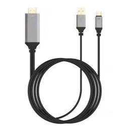 USB Type-C / HDMI / USB átalakító - 2m kábelhossz, 4K*2K @30Hz (3840*2160) felbontás - FEKETE