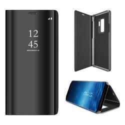 Notesz / flip tok - FEKETE - oldalra nyíló áttetsző flip cover, asztali tartó funkció - SAMSUNG SM-G965 Galaxy S9+