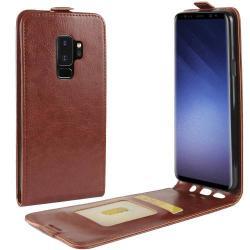CRAZY SLIM FLIP tok - lefelé nyíló, rejtett mágneses záródás - BARNA - SAMSUNG SM-G965 Galaxy S9+