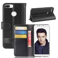 WALLET notesz tok / flip tok - FEKETE - valódi bőr, asztali tartó funkciós, oldalra nyíló, rejtett mágneses záródás, bankkártya tartó zsebekkel, szilikon belső - HUAWEI Honor 9 Lite / HUAWEI Honor 9 Youth Edition