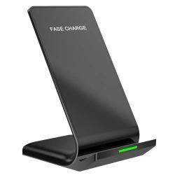QI Wireless hálózati töltő állomás vezeték nélküli töltéshez, fogadóegység nélkül! - 10W, gyorstöltés támogatás - FEKETE