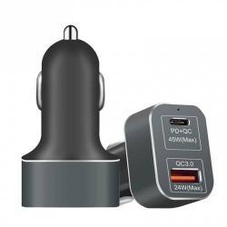 Szivargyújtó töltő/autós töltő 2 x USB aljzat - 1x 20V/2250 mA, 1x 12V/2000mA, 69W, Type-C, gyorstöltés támogatás - FEKETE
