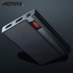 REMAX LINON Hordozható vésztöltő - belső 10000 mAh Li-Ion akku, 2 USB aljzat, 5V / 2000mAh, 1 Micro USB port, 1 Lightning port, kábel NÉLKÜL - FEKETE - GYÁRI