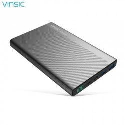 VINSIC hordozható töltő / vésztöltő - belső 20000 mAh Li-Ion akku, 3 USB aljzat, 2 x 5V / 2.4A, 1 x 5V / 3A Type C kimenet, microUSB/USB Type-C kábel - FEKETE