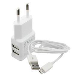 Hálózati töltő - 5V/2000mAh, 2x USB aljzat, microUSB adatátviteli / töltő kábellel, 1m - FEHÉR