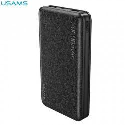 USAMS hordozható töltő / vésztöltő - belső 20000 mAh akku, 2 USB aljzat, 2 x 5V /2100mA, gyorstöltés, Type-C kábel - FEKETE - US-CD32_B - GYÁRI