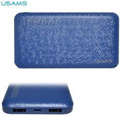 USAMS hordozható töltő / vésztöltő - belső 10000 mAh akku, 2 USB aljzat, 2 x 5V /2100mA, gyorstöltés, microUSB kábel - KÉK - US-CD21_BL - GYÁRI
