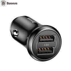 BASEUS szivargyújtós töltő / autós töltő - 2db USB aljzat, max 5V/4.8A, 12/24V - FEKETE - GYÁRI