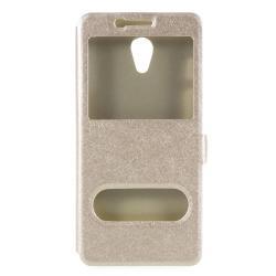 Műanyag védő tok / hátlap - ARANY - oldalra nyíló ablakos flip cover, asztali tartó funkció, mágneses záródás, hívásfelvétel - Meizu M6s