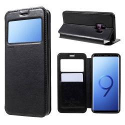 ROAR KOREA notesz / flip tok - FEKETE- oldalra nyíló ablakos flip cover, asztali tartó funkció, belső zseb - SAMSUNG SM-G960 Galaxy S9