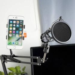 UNIVERZÁLIS asztali mikrofon / telefontartó  állvány - állítható, összecsukható, max 100 mm-ig nyitható bölcsővel  - FEKETE
