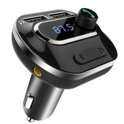 T19 BLUETOOTH kihangosító szett - szivartöltőbe tehető, FM transmitterrel csatlakozik autórádióra, EXTRA USB töltő aljzatok, 5V/3100mAh - FEKETE