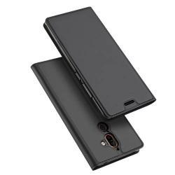 DUX DUCIS slim design notesz / mappa tok - SÖTÉT SZÜRKE - oldalra nyíló flip cover, asztali tartó funkció, szilikon belső, mágneses záródás - NOKIA 7 plus (2018) - GYÁRI