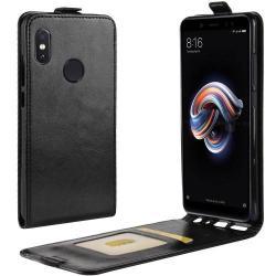 SLIM FLIP tok - FEKETE - lefelé nyíló, rejtett mágneses záródás, szilikon belső, bankkártya tartó, előlapi hangszóró nyílás - Xiaomi Redmi Note 5 Pro (Global version) / Xiaomi Redmi Note 5 (Global version)