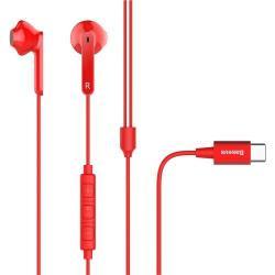 BASEUS Encok C16 SZTEREO HEADSET /James bond - Type-C, mikrofon, felvevõ és hangerõ szabályzó gomb - PIROS - GYÁRI