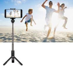 HUAWEI HONOR AF15 tripod állvány és teleszkópos Selfie bot - FEKETE - Beépített Bluetooth kioldóval, 360 fokban forgatható bölcső, 56-85mm-ig állítható, max. 66cm hosszú nyél - GYÁRI