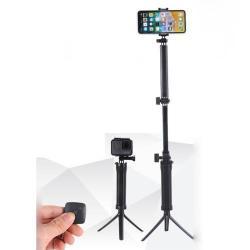 3-Way összecsukható selfie bot / 3 lábú tripod állvány - BLUETOOTH KIOLDÓVAL, forgatható, 50mm-80mm-ig állítható telefon tartó / GoPro rögzítő - FEKETE