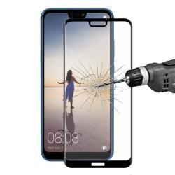 HAT PRINCE 3D Curved előlapvédő karcálló edzett üveg - 9H, 0,2mm, A TELJES ELŐLAPOT VÉDI! - FEKETE - HUAWEI P20 lite (2018) / HUAWEI Nova 3e - GYÁRI