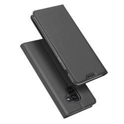 DUX DUCIS slim design notesz / mappa tok - SÖTÉT SZÜRKE - oldalra nyíló flip cover, asztali tartó funkció, szilikon belső - SAMSUNG SM-A600F Galaxy A6 (2018) - GYÁRI