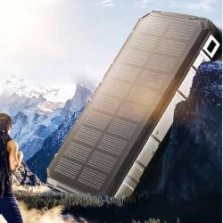 NAPELEMES hordozható töltő / vésztöltő - 20000mAh belső akku, 1 x 5V/1000mAh és 1 x 5V/2000mAh kiemenet, 1.5W naptöltés, csepp és porálló kivitel - FEKETE