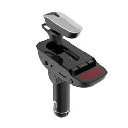 ER9 BLUETOOTH kihangosító szett - szivartöltőbe tehető, FM transmitterrel csatlakozik autórádióra, memóriakártya olvasó, 3,5mm jack aljzat, EXTRA BLUETOOTH HEADSETTEL - FEKETE