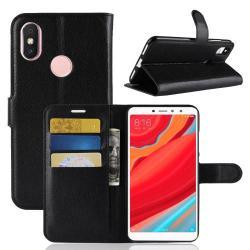 WALLET notesz tok / flip tok - FEKETE - asztali tartó funkciós, oldalra nyíló, rejtett mágneses záródás, bankkártyatartó zseb, szilikon belső - Xiaomi Redmi S2 / Xiaomi Redmi Y2