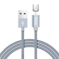 HOCO U40A adatátviteli kábel / USB töltő - mágneses, USB 3.1 Type C, 1m, 2A, szövettel bevont, adatátviteli funkció is! - SZÜRKE