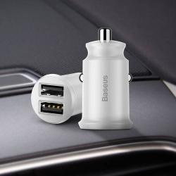 BASEUS szivargyújtós töltő / autós töltő - 2 x USB aljzat, 5V / 3.1A, kábel NÉLKÜL! - FEHÉR - GYÁRI