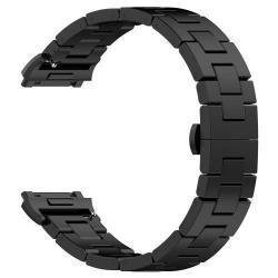 Okosóra szíj - rozsdamentes acél, csatos - FEKETE - Fitbit Ionic