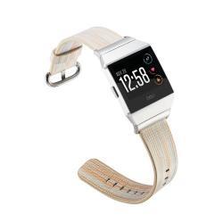 Okosóra szíj - valódi bőr, csíkos mintás - BÉZS - Fitbit Ionic