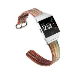 Okosóra szíj - valódi bőr, csíkos mintás - SÁRGA - Fitbit Ionic