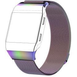 Okosóra szíj - rozsdamentes acél, mágneses - LILA / SZÍNES - L méret, 238mm hosszú - Fitbit Ionic